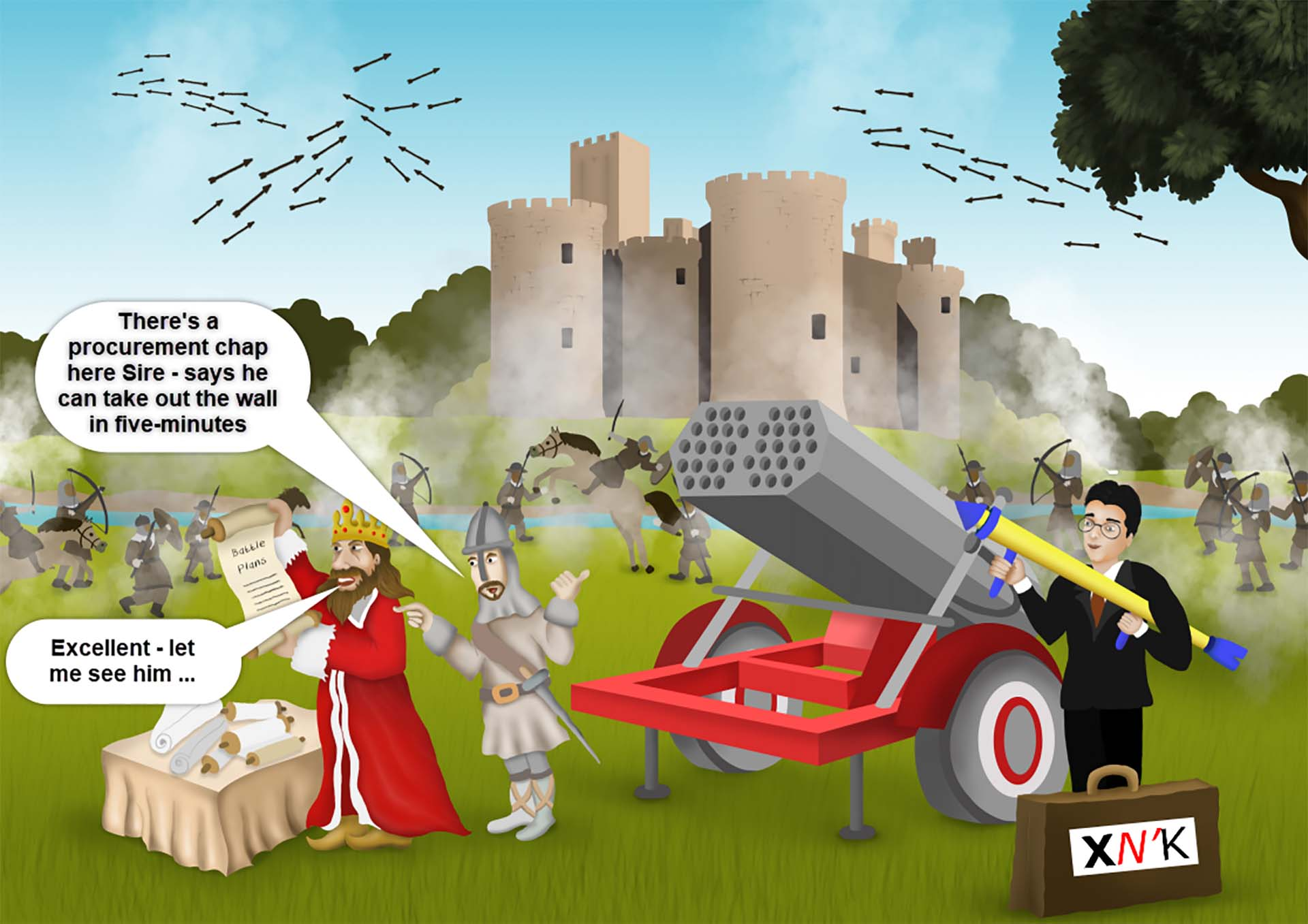 Cartoon showing Jorg providing the King with a great solution to help him storm the castle